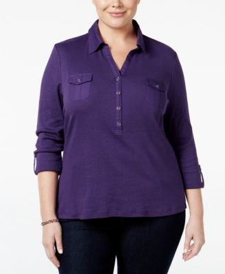 Image of Karen Scott Plus Size Roll-Tab Polo Top, Only at Macy's