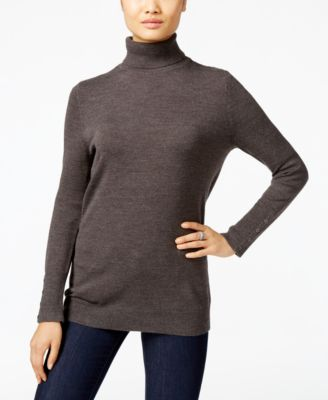 JM Collection Button-Cuff Turtleneck Sweater, Only at Macys