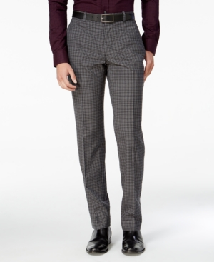 1920s Style Men's Pants & Plus Four Knickers Bar Iii Mens Slim-Fit Charcoal Check Dress Pants Only at Macys $42.99 AT vintagedancer.com