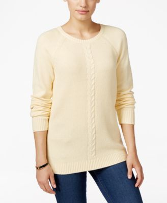 Image of Karen Scott Cable-Knit Crew-Neck Sweater, Only at Macy's