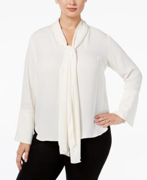 Rachel Rachel Roy Curvy Plus Size Bell-Sleeve Tie-Neck Blouse $99.00 AT vintagedancer.com