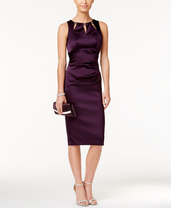 Betsy & Adam - Cutout Satin Sheath Dress