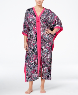 Ellen Tracy Plus Size Contrast-Trimmed Printed Caftan plus size,  plus size fashion plus size appare
