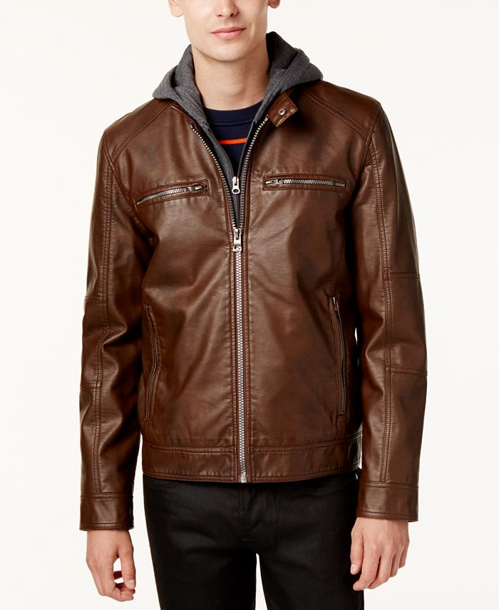GUESS - Men's Faux-Leather Detachable-Hood Motorcycle Jacket