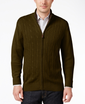 Men's Vintage Style Sweaters – 1920s to 1960s Tricots St Raphael Mens Cable-Knit Zip Sweater $49.99 AT vintagedancer.com