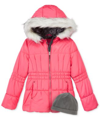 Image of London Fog 2-Pc. Heavyweight Puffer Jacket & Fleece Hat Set, Girls (7-16)