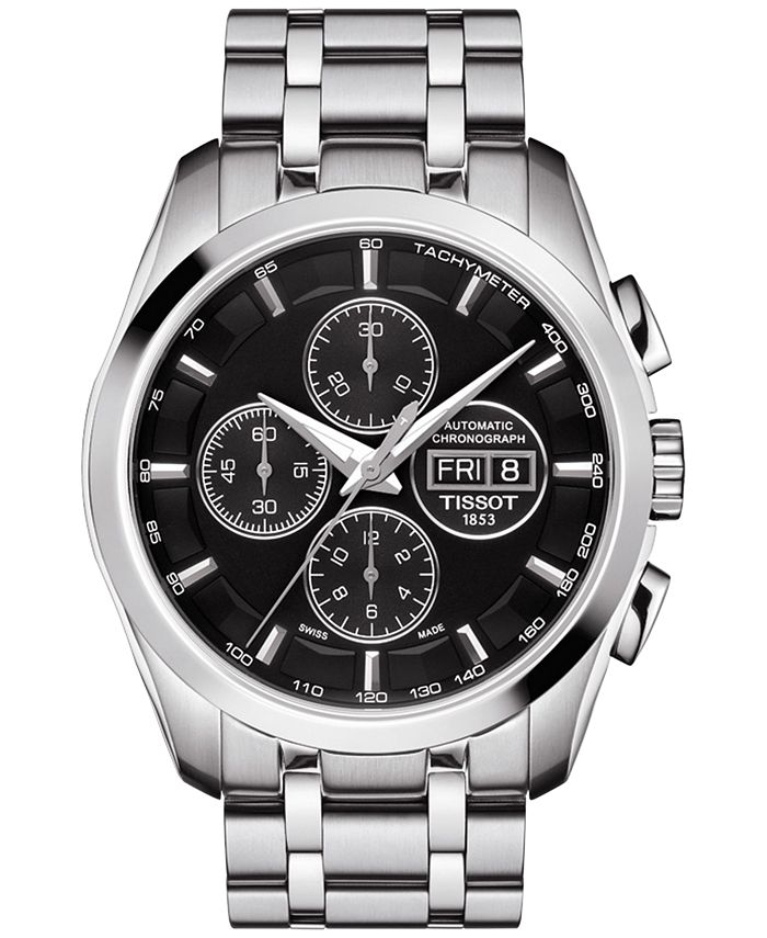 Tissot - Men's Swiss Automatic Chronograph Couturier Stainless Steel Bracelet Watch 43mm T0356141105101
