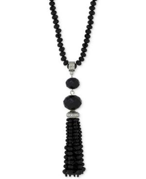 New 1920s Costume Jewelry- Earrings, Necklaces, Bracelets 2028 Silver-Tone Jet Stone Tassel Pendant Necklace $80.00 AT vintagedancer.com