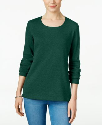 Image of Karen Scott Long-Sleeve Scoop-Neck Top, Only at Macy's