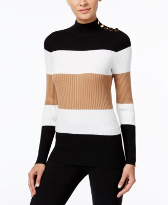 Image of INC International Concepts Mock-Neck Button-Trim Sweater, Only at Macy's