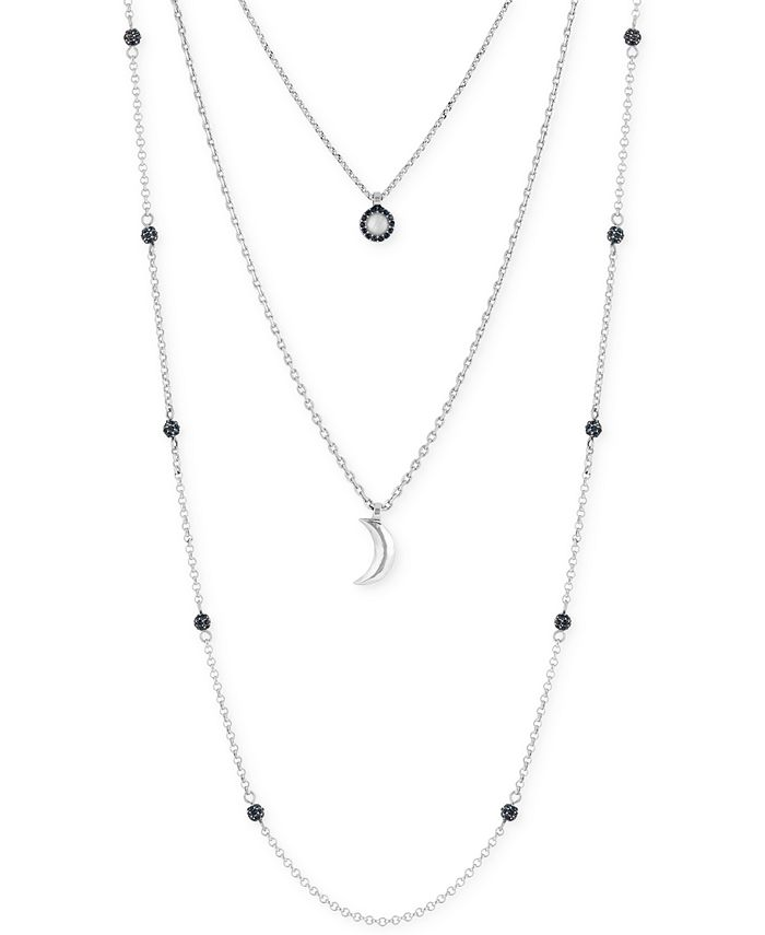 Lucky Brand - Silver-Tone Layered Moon Pendant Necklace