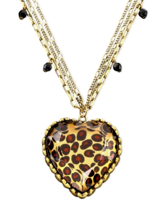 Betsey Johnson Puff-Heart Leopard Necklace