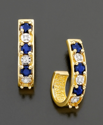 14k Gold Sapphire (1/2 ct. t.w.) & Diamond Accent Hoop Earrings