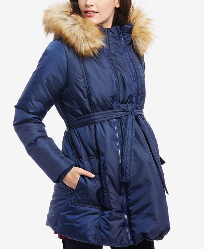 Motherhood Maternity - Maternity Three-In-One Belted Quilted Puffer Coat