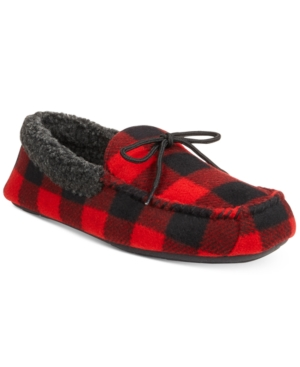 Club Room Men's Buffalo Plaid Moccasin Slippers, Only at Macy's