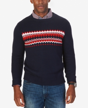 Men's Vintage Style Sweaters – 1920s to 1960s Nautica Mens Fair Isle Crew-Neck Sweater Only at Macys $69.99 AT vintagedancer.com