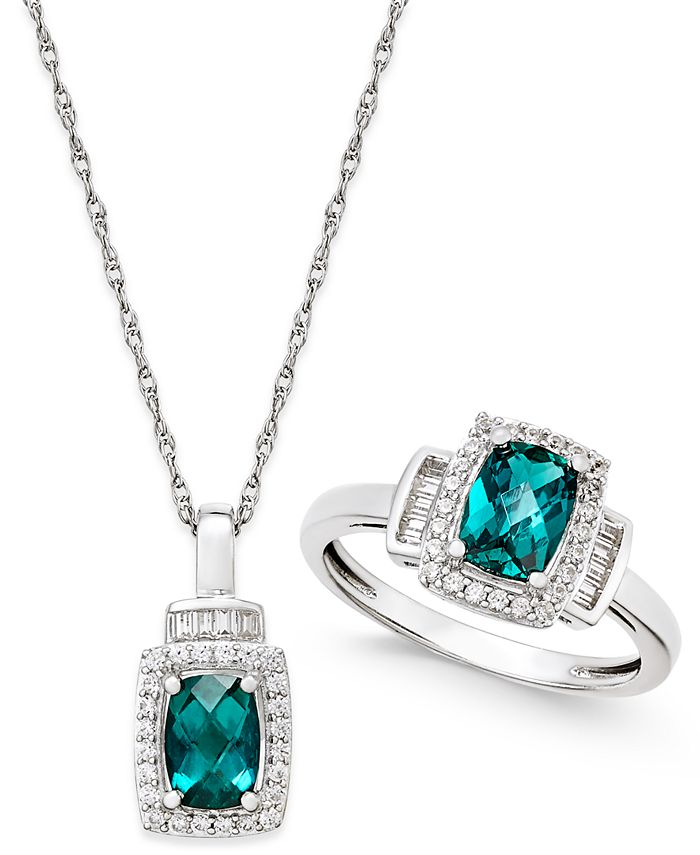 Macy's - Lab-Created Emerald (1-3/8 ct. t.w.) and White Sapphire (5/8 ct. t.w.) Pendant Necklace and Matching Ring Set in Sterling Silver