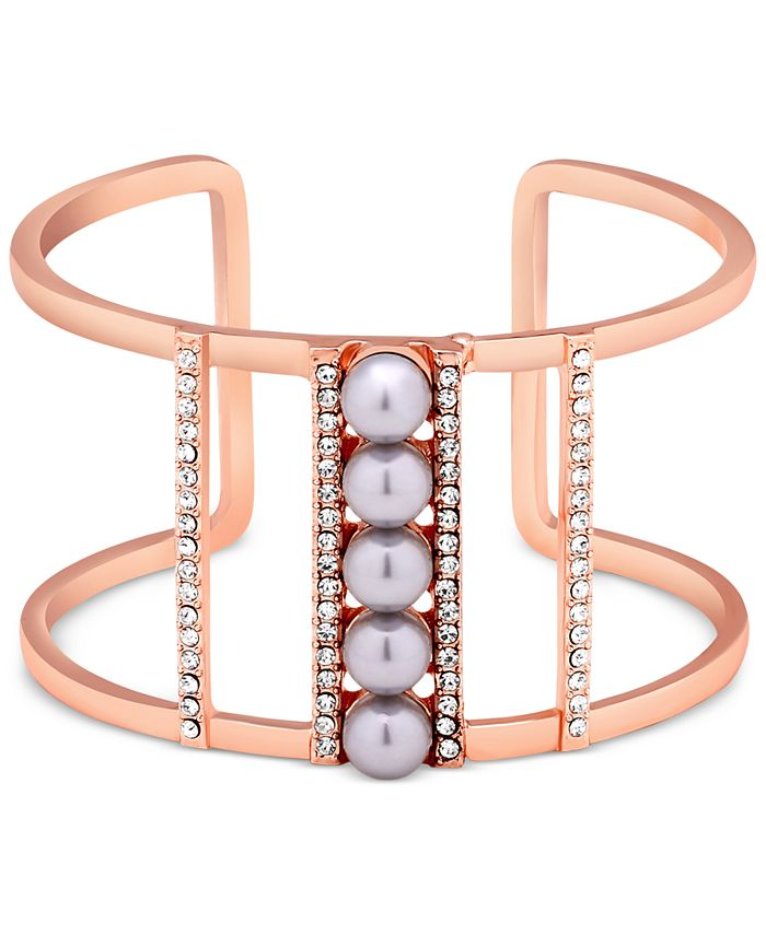 GUESS - Rose Gold-Tone Imitation Pearl and Pavé Openwork Cuff Bracelet