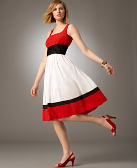 Macy*s -   Women's - 								Anne Klein Petites Color-Block Pleated Dress :  knee length colorblocking anne klein lined