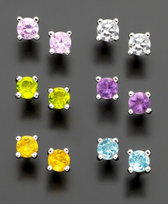 Set of Sterling Silver Colored Cubic Zirconia Stud Earrings (1/5 ct. t.w.)