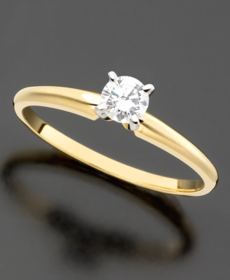 14k Gold Certified Diamond Round-Cut Solitaire Ring (1/4 ct. t.w.)