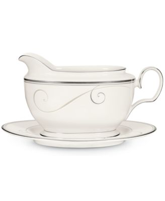Noritake Dinnerware, Platinum Wave Gravy Boat with Stand
