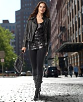 black sequin tank and black leather jacket dknyc