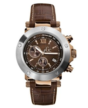 Gc Swiss Made Timepieces Watch, Men's Chronograph Leather Strap G45003G1