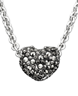 Judith Jack Sterling Silver Marcasite & Pavé Crystal Reversible Heart Necklace