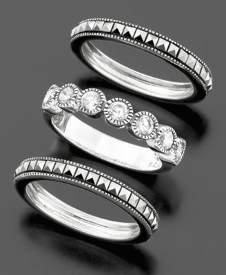 Judith Jack Sterling Silver Cubic Zirconia (1-1/2 ct. t.w.) & Marcasite Stackable Ring Set