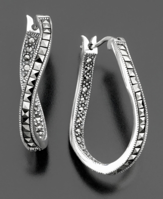 Judith Jack Sterling Silver Marcasite Hoop Earrings
