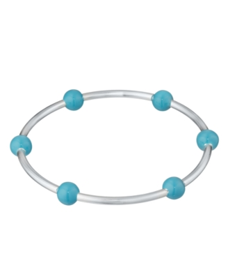 L'una Sterling Silver X-Large Six Bead Blue Enamel Bangle Bracelet