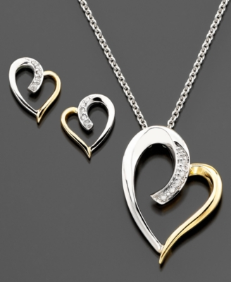 14k Gold & Sterling Silver Diamond Heart Pendant & Earring Set (1/10 ct. t.w.)