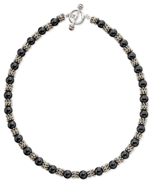 14k Gold & Sterling Silver Onyx Beaded Necklace