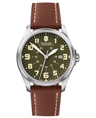 Victorinox Swiss Army Watch Men S Brown Leather Strap