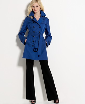 AK Anne Klein Iridescent Double-Breasted Trench Coat - Women's - Macy's