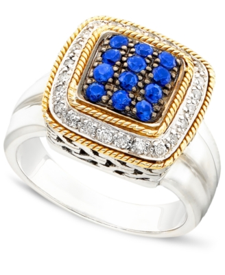 18k Gold & Sterling Silver Sapphire (7/8 ct. t.w.) & Diamond (1/3 ct. t.w.) Ring
