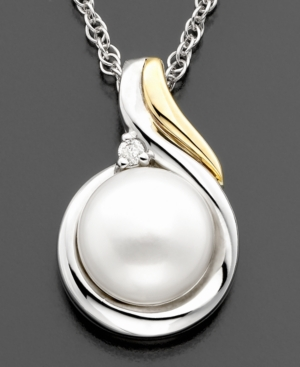 14k Gold & Sterling Silver Pearl Pendant