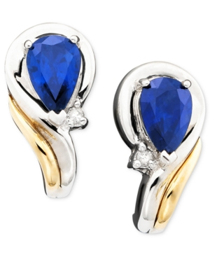 14k Gold & Sterling Silver Sapphire (1 ct. t.w.) & Diamond Accent Earrings