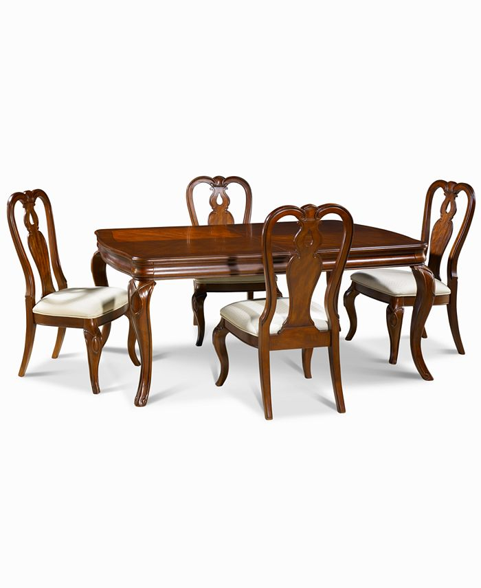 Furniture Closeout Bordeaux 5 Piece Dining Room Furniture Set Created For Macy S Dining Table 4 Queen Anne Side Chairs Reviews Furniture Macy S
