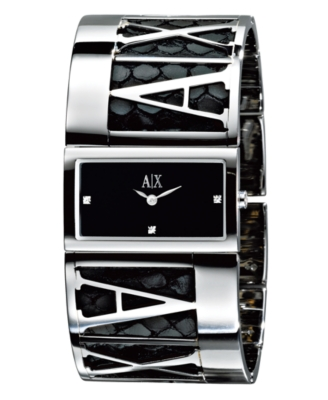 AX Armani Exchange Watch, Women's Stainless Steel and Python Stamped Leather Bracelet AX4018 - Watches