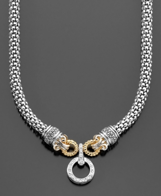 14k Gold & Sterling Silver Diamond Circle Necklace (3/8 ct. t.w.)