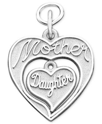 Rembrandt Charms Sterling Silver Mother & Daughter Charm - Heart Pendant