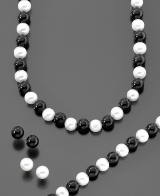 14k Gold Cultured Freshwater Pearl & Onyx Four-Piece Set - Pearl Necklaces