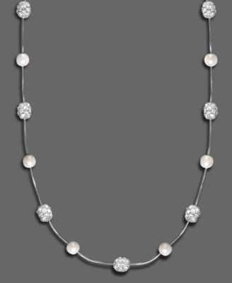Monet Glass Pearl & Crystal Accent Fireball Necklace