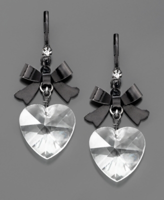 Betsey Johnson Crystal Heart Earrings