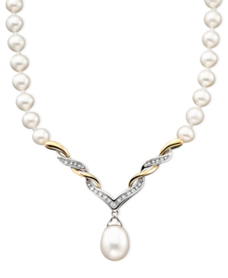 14k Gold & Sterling Silver Cultured Freshwater Pearl & Diamond (1/10 ct. t.w.) Necklace