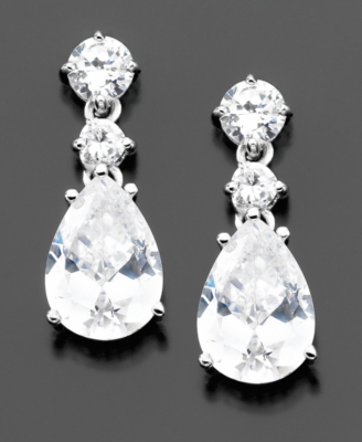 Sterling Silver Cubic Zirconia Teardrop Earrings (10-1/6 ct. t.w.)