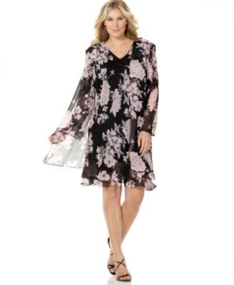 Evan Picone Plus Size Tiered Printed Dress & Jacket