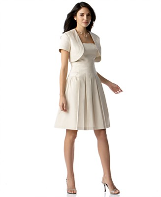 London Times Sleeveless Flared Dress with Bolero Jacket - Wear to Work Daytime Dresses - Women's - Macy's